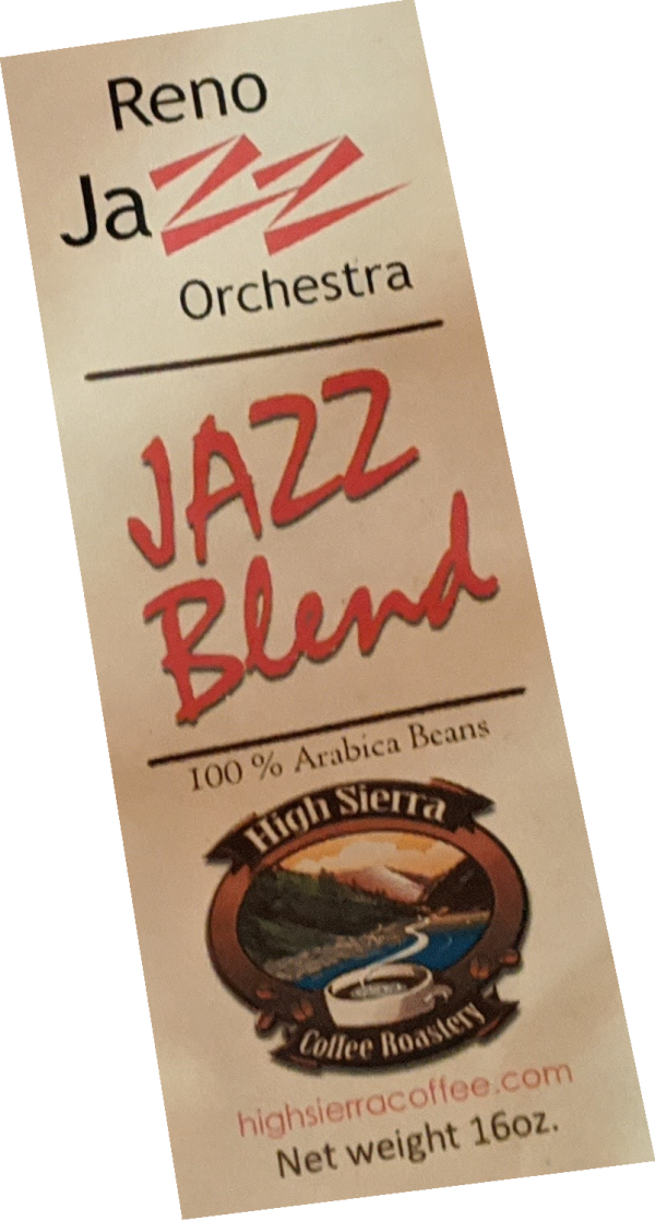 Reno Jazz Orchestra Jazz Blend coffee label